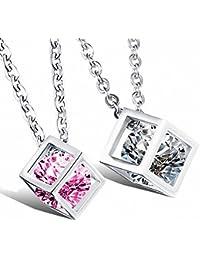 MFYS Jewelry ペアネックレス ファッション メンズ レディース 愛 恋 カップル ペンダント ルービック キューブ クリスタル ネックレス [ギフトボックスを提供]
