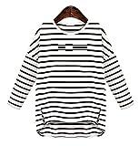 (ジューシーワールド) 長袖 ボーダー カットソー ゆったり Tシャツ レディース 白 S