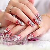 XUTXZKA 24個/セット赤フラッシュ仕上げ偽の爪パッチ花嫁の爪パッチ偽の爪輝く宝石偽の爪
