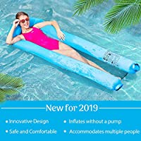 MIABOO浮き輪 大人用 浮き輪ベッド 1~2人用 超軽量 耐荷重200kg 夏休み 暑さ対策 収納袋付き
