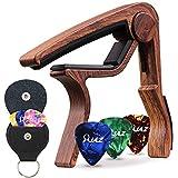 カポタスト ギター カポ アコースティックギター、ウクレレ、エレキギター用 ピック、ピックホルダー付属  (ウッドカラー)