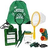 Blue Panda Outdoor Exploration Kit - 10-Pack Kids Adventure Toys Includes Binoculars, Bug Viewer, Tweezers, Magnifier, Whistle, Butterfly Net Drawstring Bag, Green