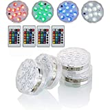 Submersible LED Lights with Remote Battery Powered RGBW MultiColor Changing Waterproof Light for Vase Floral Aquarium Pond We