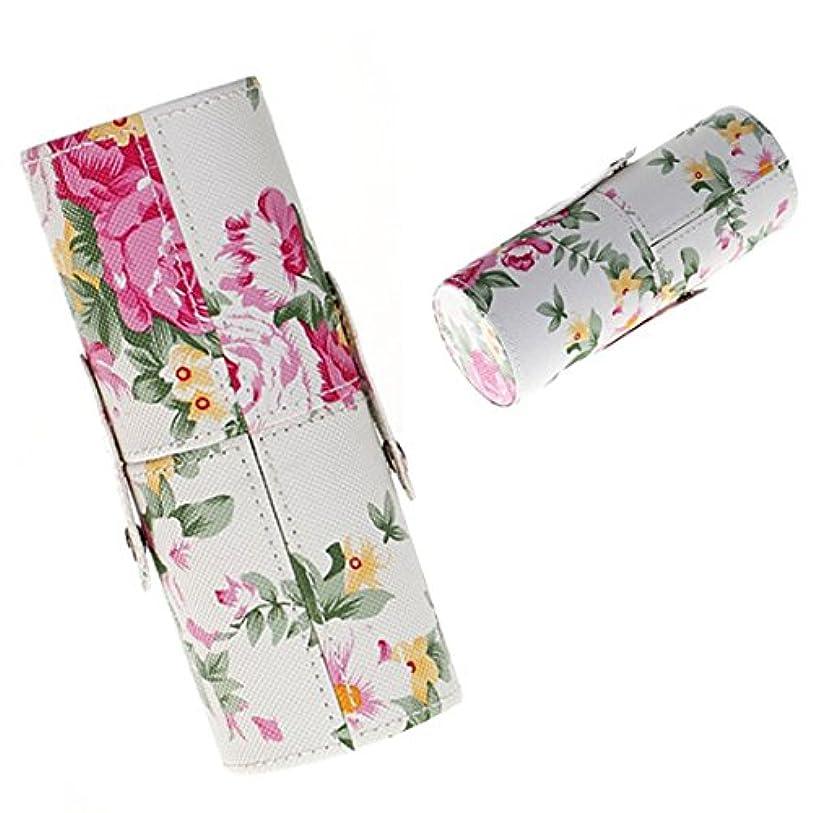 ふつう挽く超えてMEI1JIA QUELLIAローズ花柄PUレザーメイクブラシセットストレージバケツ、中型