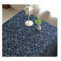 伝統的なテーブルクロス茶道日本の青い花布カフェテーブルタオル (Color : A, Size : 55.1*78.7in)