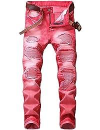 メンズ ジーンズ ストレート 大きいサイズ ダメージ デニムパンツ 細身 スリム 春夏 全5色