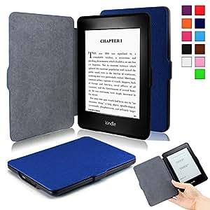 Infiland Amazon Kindle Paperwhite と NEW-Kindle Paperwhite (2015) ケース 超薄型 最軽量の保護 レザー カバー マグネット機能 (Kindle paperwhite, ネイビーブルー)
