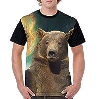 メンズ 半袖Tシャツ スペース熊 カジュアル Oネック シャツ トップス 通勤 通学 XXL