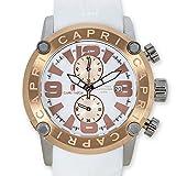 [カプリウォッチ] CAPRI WATCH Rocks Art. 5182 腕時計 45mm ホワイト × ローズゴールド メンズ 男性 ラバー ベルト [並行輸入品]