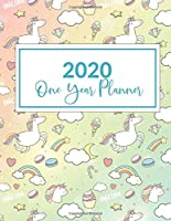 "2020 One Year Planner: 2020-2021 1 Year Planner, Unicorn Cupcake Themed Cover, Leap Year included, daily, weekly, monthly goal setting and yearly overview included 8.5"" X 11"" cover."