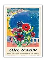コードダジュール、フランス - フレンチ・リヴィエラ - フランス国鉄の国立協会 - ビンテージな世界旅行のポスター によって作成された タル c.1947 - アートポスター - 23cm x 31cm