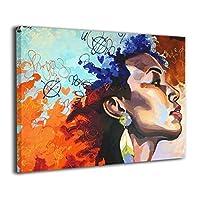 絵画家族 Black Women フレームレスペインティング モダン絵画 油絵 水彩画 現代絵画 アートパネル 壁飾り 壁掛け 風景 自然 動植物 玄関 インテリア 贈り物 お洒落