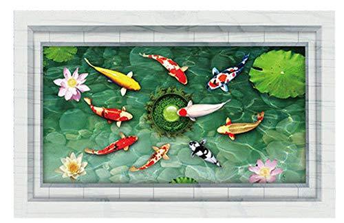 Plus Nao(プラスナオ) ウォールステッカー ウォールシール 鯉 コイ 魚 蓮の花 池 カラフル 緑 高級感 絵画風 だまし絵 トリックアート 3D - -