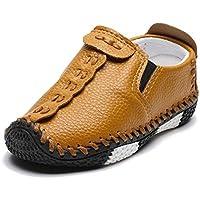 ENERCAKE Toddler Boys Girls Loafer Shoes Soft Synthetic Leather Slip On Moccasin Kids Flat Boat Dress Shoes(Toddler/Little Kid)(5 Toddler, C-Brown)