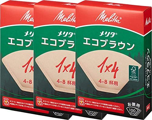 メリタ(Melitta) コーヒーフィルター NEW エコブラウン 4~8杯用/100枚 3個セット