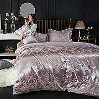 ヨーロッパの寝具4ピース綿生地4ピース印刷と刺繍プロセス4ピースセットは、ユニバーサル1.5-1.8メートルベッド (Color : A)