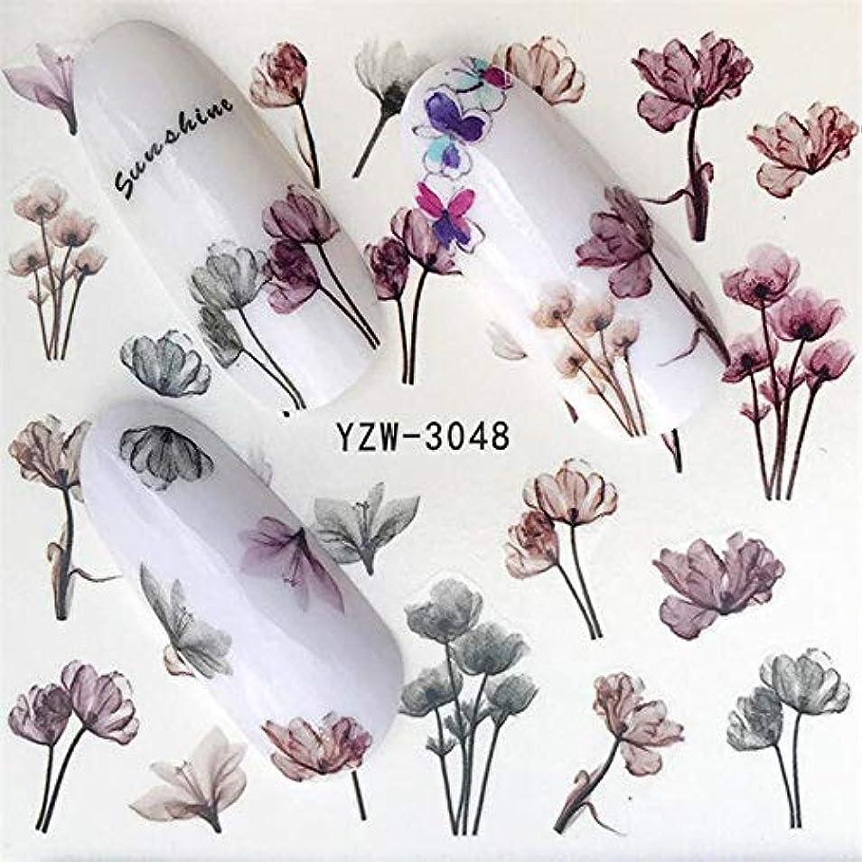 非公式民間熟達SUKTI&XIAO ネイルステッカー 1シート水転写女性フルカバーステッカーネイルアートデカールネイルアート美容パープルローズ装飾のヒント