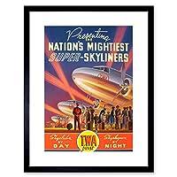 Travel Super Skyliner Sleeper Plane Fly Spotlight Framed Wall Art Print 旅行スーパースカイライン飛行機壁
