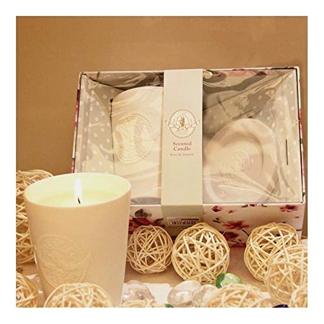みエールモスGuomao 白い陶器のガラス、ワックス、香料入りの蝋燭、屋内臭気の蝋燭