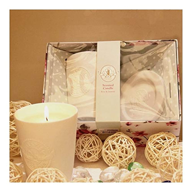 ACAO 白い陶器のガラス、ワックス、香料入りの蝋燭、屋内臭気の蝋燭