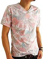 (アーケード) ARCADE メンズ 夏 天竺 総柄 Vネック ボタニカル 花柄 ボーダー カモフラ 迷彩 リゾート 半袖 Tシャツ