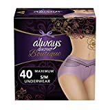 Always Discreet Boutique, Incontinence & Postpartum Underwear for Women, Disposable, Maximum Protection, Purple, Small/Medium, 20 Count-Pack of 2 (40 Count Total)