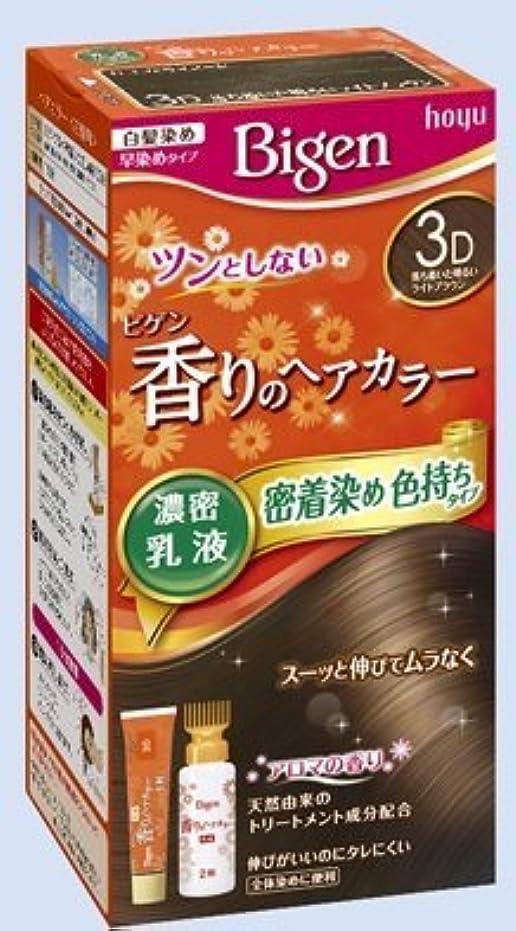 透けるきょうだいエキゾチックビゲン 香りのヘアカラー 乳液 3D 落ち着いた明るいライトブラウン × 10個セット