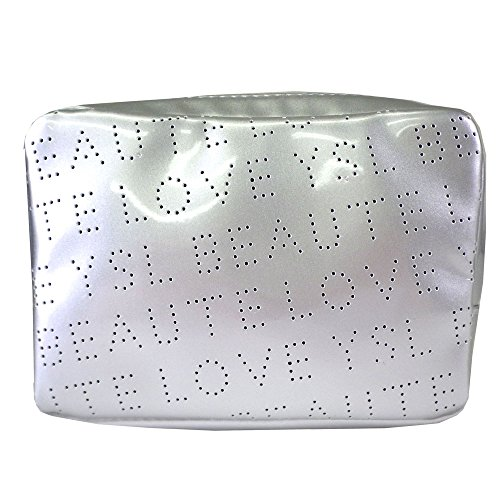 (イヴ サンローラン) Yves saint Laurent ポーチ 小物入れ ロゴ 銀 シルバー 四角 スクエア パンチング エナメル 化粧 メイク コスメ