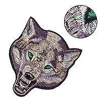 布ステッカー オオカミの頭 DIY 装飾 縫製刺繍パッチ 服装飾パッチ Tシャツ ジーンズ コート ジャケット 服 バッグ等に適用