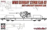 モデルコレクト 1/72 第二次世界大戦 ドイツ軍 128mm FlaK40高射砲 搭載貨車 プラモデル MODUA72118