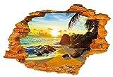 Plus Nao(プラスナオ) ウォールステッカー ビーチ 海岸 太陽 夕方 夕陽 レンガ 南国 3D ムーディー ロマンチック リラックス 壁 天井 子供 - -
