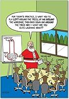 トナカイの周りツリークリスマスFunny Paperカード 12 Christmas Card Pack (SKU:B1627)