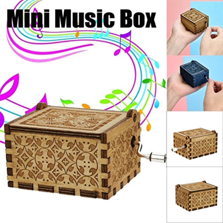 Dreamen Mini音楽ボックス刻印木製音楽ボックス面白い趣味おもちゃ最高Xmas誕生日ギフト Dreamen-0703-47