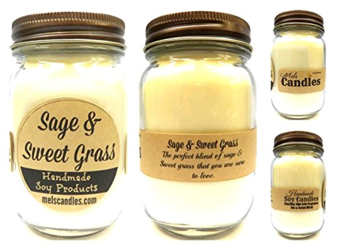 例謝罪王女セージ& Sweet Grass – 16oz国Jar Soy Candle – ハンドメイドでRolla Mo – Noveltyキャンドル