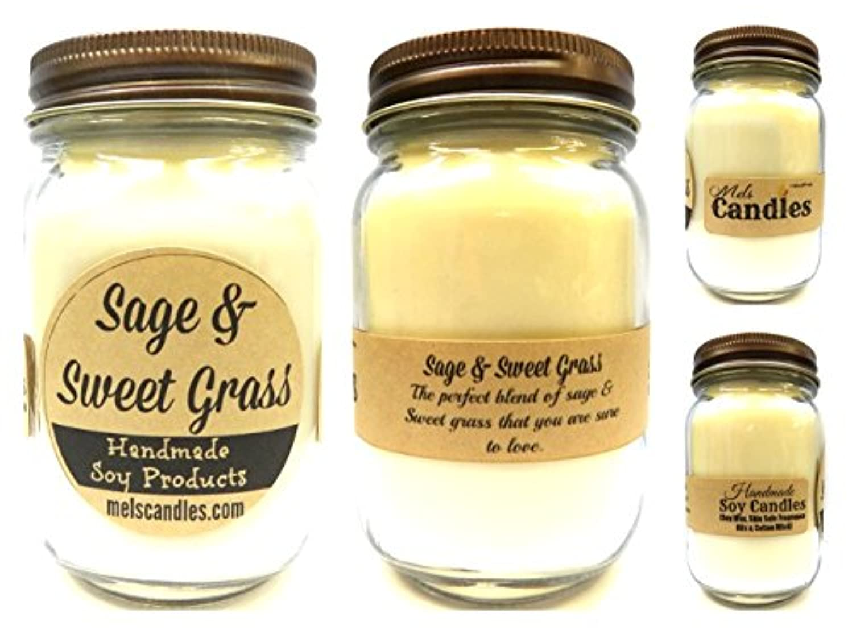 フォアマン倒産スタッフセージ& Sweet Grass – 16oz国Jar Soy Candle – ハンドメイドでRolla Mo – Noveltyキャンドル