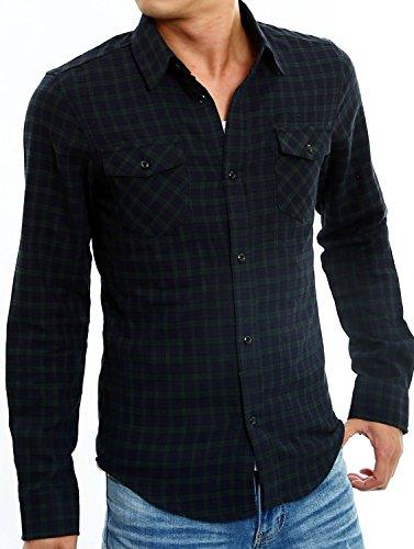 インプローブス チェックシャツ 長袖 チェック柄 スリムシャツ メンズ H サイズL