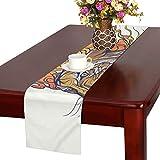 LKCDNG テーブルランナー 和風の虎 クロス 食卓カバー 麻綿製 欧米 おしゃれ 16 Inch X 72 Inch (40cm X 182cm) キッチン ダイニング ホーム デコレーション モダン リビング 洗える