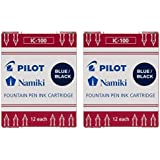Pilot Namiki IC100 Fountain Pen Ink Cartridge Blue/Black 12 Cartridges per Pack (Pack os 2)