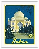 インド - タージマハル - アグラ、ウッタル・プラデーシュ - ビンテージな世界旅行のポスター c.1930s - キャンバスアート - 51cm x 66cm キャンバスアート(ロール)