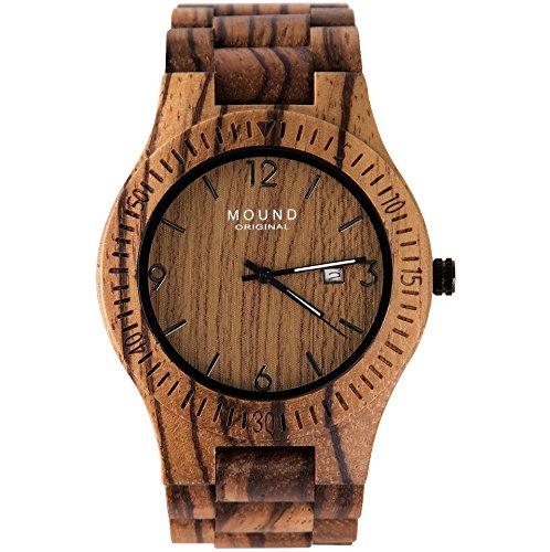 高級感 高品質 耐水加工 芸能人愛用 天然木製腕時計 丈夫なウッドウォッチ 腕時計 Mound original ブランド メンズ レディース 軽量 彫刻 贈り物 プレゼントにも最適 (日付カレンダー付き)