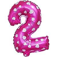 Perfk 数字 0から9まで アルミ箔製 ハート/星付き 風船 記念日 誕生日パーティー DIY デコレーション 全2色10番号 - ピンク, 2