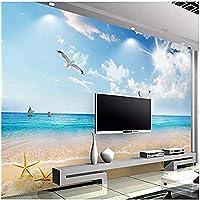 Clhhsy 写真の壁紙3D青い空と白い雲ビーチシースケープ壁画リビングルームダイニングルーム背景壁の装飾 -150X120Cm