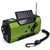 Alert Weather Radio, Lesgos Emergency Rechargeable Solar Crank AM/FM/WB Weather Radio with Flashlight, 2000 mAh Power Bank, SOS Alarm, Reading Lamp, Phone Charger