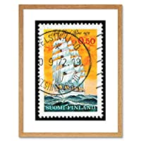 Postage Stamp Finland 50 Pennies Tall Ships Race Framed Wall Art Print 送料切手フィンランド船レース壁