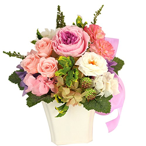 Azurosa(アズローザ) プリザーブドフラワー ギフト枯れない花 オールドローズ ミニバラ ガーデンローズ アジサイ アンティーク ナチュラルエレガント