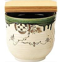茶道具商 左座園 織部 水屋瓶 大(杉割蓋付)