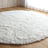 丸い 円形 シャギー ラグ エクセレント ムーティー 直径 80cmから160cmまで のマット ラグ マイクロファイバー 滑り止め付き 丸洗い 折り畳み 可能 ホットカーペットカバー 床暖房 対応 やわらか 絨毯 防音 低反発 高反発 (200cm, 白)