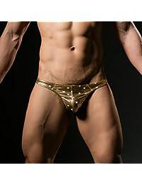 【WOXUAN】メンズ下着 ステージ用パンツ ブロンズ ピカピカ星模様 材質感のある生地  Tパンツ