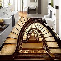 Mbwlkj 3Dステレオカスタムフローリングクリエイティブ回転階段リビングルームの寝室の床ステッカー壁紙壁画-350cmx245cm