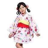 (オオキニ)大喜賑 浴衣 ドレス 4点セット セパレートで簡単着付け 兵児帯2本付き 女の子 100~130cm (110cm, 【002】ピンク)